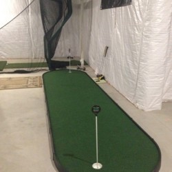 small indoor putting green in golf room next to hitting net