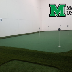 Racquetball court putting green