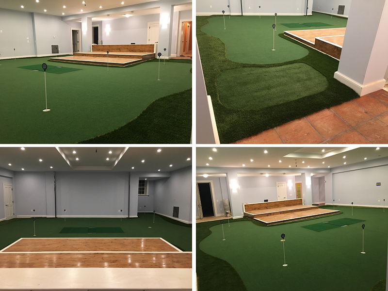 Integrated Hitting Mat in Golf Room for Simulator
