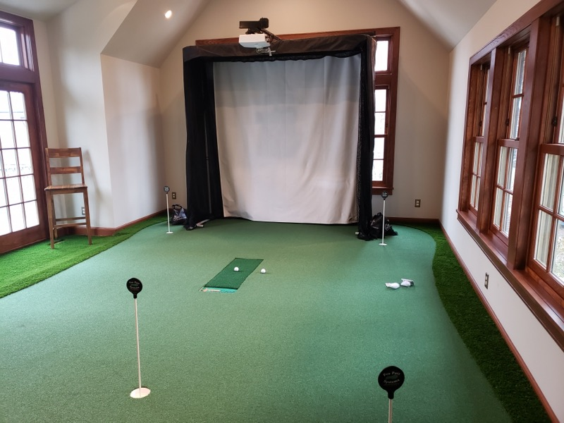 Simulator Green with Integrated Hitting Mat